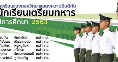 ขอแสดงความยินดีกับนักเรียนโรงเรียนแสงทองวิทยาที่เข้าศึกษาต่อนักเรียนเตรียมทหาร