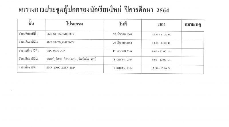 ตารางกำหนดการประชุมผู้ปกครองนักเรียนใหม่ ปีการศึกษา 2564